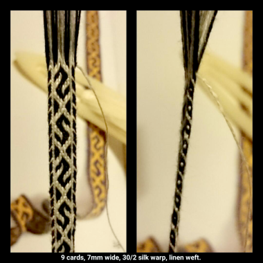 Second experiment in silk: this time with thinner threads, 30/2nm silk warp and linen weft.
