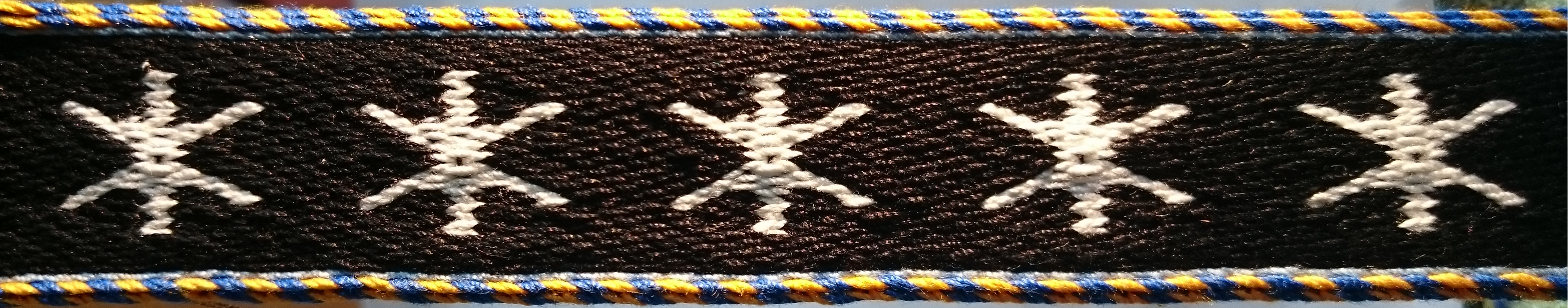 Tablet woven band, made using the Orion A pattern