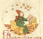 Guy sitting at a desk staring at the stars. Detail from an anonymous German manuscript (circa 1450) held in the Crawford Collection at the Royal Observatory, Edinburgh.