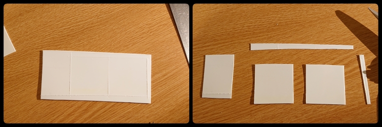 left: plastic with squares scored into it; right: squares cut out, surrounded by offcuts